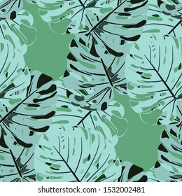 Seamless Pattern with Hawaiian Rainforest. Trendy Colorful Texture with Tropical Leaves for Dress, Curtain, Cloth. Vector Tropical Pattern.