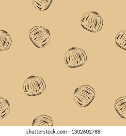 Seamless pattern from hazelnuts. Vector file EPS 10