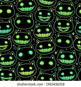 seamless pattern of head cartoon spooky animal
