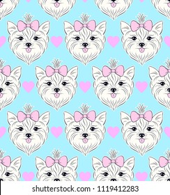 Seamless pattern with head of dog on white background.Vector illustration.