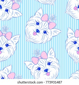 Seamless pattern with head of dog on blue background.Vector illustration.