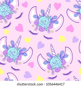 Seamless pattern with head of unicorn on pink background