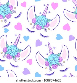 Seamless pattern with head of unicorn on white background