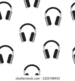 Seamless Pattern with Headphones isolated on white background. Music Concept. Vector illustration for Your Design.