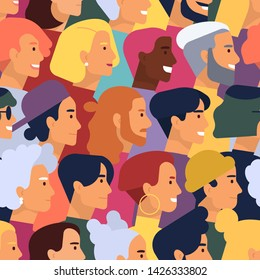 Seamless pattern with heads of cute smiling young and elderly men and women with various hairstyles. Backdrop with stylish people. Flat cartoon vector illustration for wallpaper, wrapping paper.