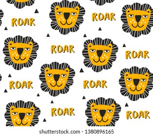 Seamless pattern with heads of lions. Vector illustration hand drawn in doodle scandinavian style.