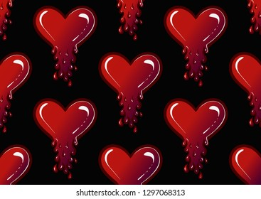 seamless pattern heart with blood