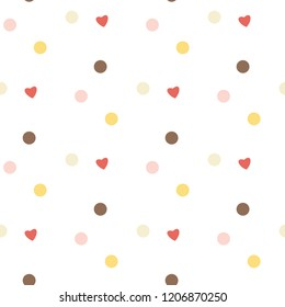 Seamless Pattern with Heart and Dot Design on White Background