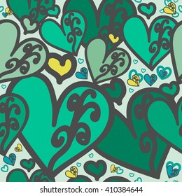 Seamless pattern. Heart green color of with swirls. For printing on packaging, bags, cups, laptop, furniture, etc. Vector.