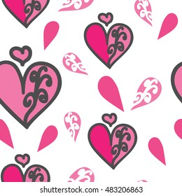 Seamless pattern of the heart and half a heart on white background. For printing on the package, bag, cup, notebook, furniture, textiles, etc. Vector.