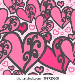 Seamless pattern. Heart pink color of with swirls. For printing on packaging, bags, cups, laptop, furniture, etc. Vector.