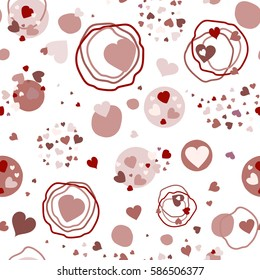 Seamless pattern of the heart point of the circle. For printing on packaging, bags, laptop, furniture, etc. Vector.