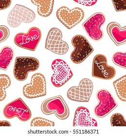 Seamless pattern, heart shaped cookies