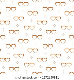 Seamless pattern with heart shaped glasses. Greeting card happy Valentine's Day. Romantic background. Design for banner, poster or print.