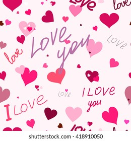 Seamless pattern of the heart and the text I love you. For printing on packaging, bags, cups, laptop, etc. Vector.