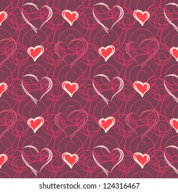 Seamless pattern with heart. Vector.