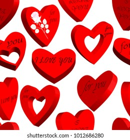 Seamless  pattern with hearts 3d. Isolated on white background. Vector illustration.