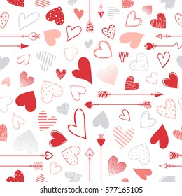 Seamless pattern with hearts and arrows.Romantic illustration perfect for design greeting cards, prints, flyers,cards,holiday invitations and more.Vector Valentines Day card.