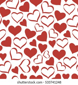 Seamless pattern with hearts. Background for gift wrapping. Decoration fabric. Wallpaper design. Stylish beautiful baby seamless pattern
