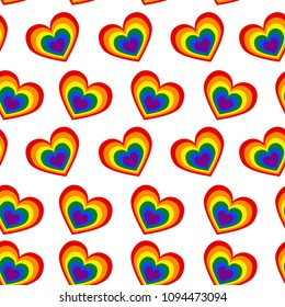 A seamless pattern of hearts in the colors of an LGBT community on a white background