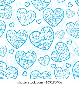 Seamless pattern of hearts with curls and inscriptions, blue on white