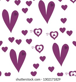 Seamless Pattern with Hearts Dark moderate pink color. Endless pattern can be used for design, textile,  pattern fills, posters, cards, web page background etc. Pattern under the mask. Vector.