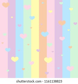 Seamless pattern with hearts. Designed for cards, walpapers, backgrounds, wrapping paper, valentine`s day, girls.  Rainbow and hearts isolated on background