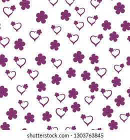 Seamless Pattern with Hearts and Flowers Dark moderate pink color. For your design, textile, pattern fills, posters, cards, background etc. Elements are not cropped. Pattern under the mask. Vector.