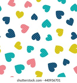 Seamless pattern with hearts of fresh colors on a white background. Vector repeating texture.