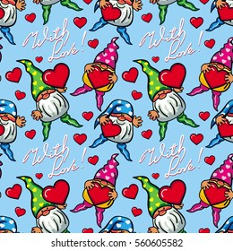 """Seamless pattern with hearts, gnomes and sign """"With love!"""". Funny background for holiday decorations, greetings, Valentine day and birthday cards, wrapping paper. Vector clip art."""