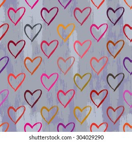 Seamless pattern with hearts. Hand drawn background.