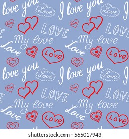 Seamless pattern of hearts and handwriting. valentines day on a background
