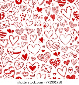 Seamless pattern with hearts and love symbols for St. Valentine's Day and wedding decorations