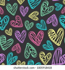 seamless pattern with hearts on black background - vector illustration, eps