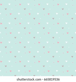 Seamless Pattern of Hearts on Pastel Green Background