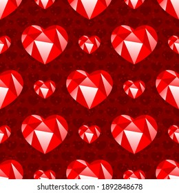 Seamless pattern with hearts on red background.