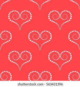 Seamless pattern hearts on red background with white dots. Vector illustrations.