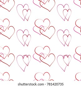Seamless pattern with hearts on a white background simple lines vector illustration