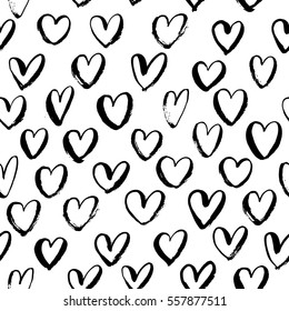 Seamless pattern with hearts. Ornament for Valentine's day.  Ink illustration. Isolated on white background.