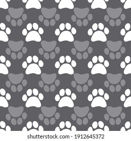 Seamless pattern with hearts and paw prints of animals. Vector footprint tile background repeat wallpaper illustration. Creative texture for fabric, wrapping,  textile, wallpaper, apparel. Surface pat