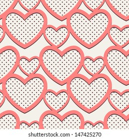 Seamless pattern with hearts polka-dot. Vector repeating texture. Cute background for the Valentine's Day