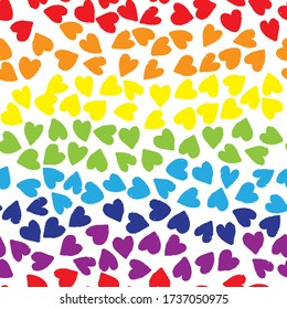 Seamless pattern with hearts in rainbow colors on white background. Vector design for textile, backgrounds, clothes, wrapping paper, web sites and wallpaper. Fashion illustration seamless pattern.