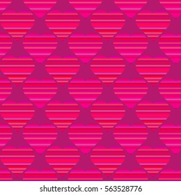 Seamless pattern with hearts. Romantic pattern for wedding invitations, greeting cards, print, gift wrap. Surface pattern with colored striped hearts.