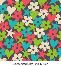 seamless pattern with hearts, stars and flowers