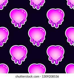 Seamless pattern with hearts. Vector wallpaper with stickers in pastel goth style. Black background.