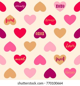 Seamless pattern of hearts and words for valentine's day
