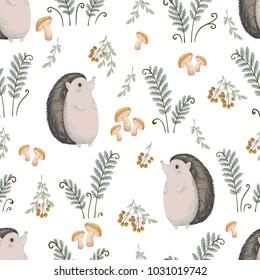 Seamless pattern with hedgehog, fern, mushrooms, tree branches and berries. Cute cartoon characters. Hand drawn vector illustration in watercolor style
