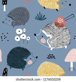 Seamless pattern with hedgehogs ann mushrooms. Creative scandinavian background. Perfect for kids apparel,fabric, textile, nursery decoration,wrapping paper.Vector Illustration