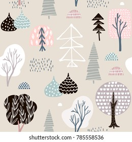 Seamless pattern hedgehogs with trees,floral elements. Creative woodland background. Perfect for kids apparel,fabric, textile, nursery decoration,wrapping paper.Vector Illustration