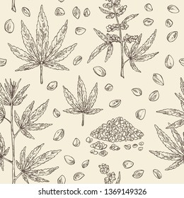 Seamless pattern with hemp: cannabis seeds and plant. Superfood. Cosmetic and medical plant. Vector hand drawn illustrational